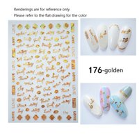 Wholesale 3D Bronzing Adhesive Transfer Tips Manicure Nail Art Decoration Line English letters back glue DIY nail decals