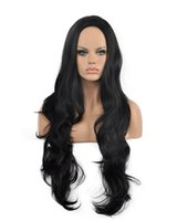 Wholesale long wave costumes hair for sale - Hot DIY WIG Women Charming Long Wave Black Synthetic Costume Hair Kanekalon Heat Resistant Cosplay Party Hair Full Wig Wig