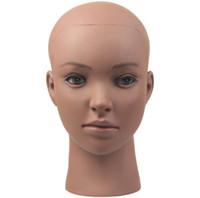 siyah şapka eğitimi toptan satış-Afrika siyah kafa PVC Manken Kafa Uygulama Eğitim Modeli Peruk Şapka Ekran Için Kelepçe Ile