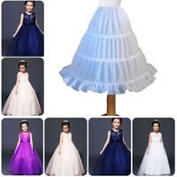 пальто оптовых-Children's petticoat Kids Petticoat Flower Girls 3-Hoop Crinoline Underskirt Dress Slips Children