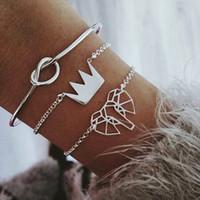 jóia em forma de nó venda por atacado-3 peças / set de moda moderna prata atada coroa em forma de coração terno senhoras OL charme jóias presente de aniversário atacado C519