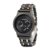 ingrosso orologi da uccello-BOBO BIRD Men Wooden Watches Nuovo design speciale in legno e metallo Luxury orologio da polso Orologi relogio masculino Orologi B-P19