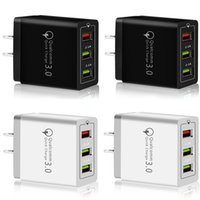 Wholesale rapid fast charger for sale – best Fast Rapid Quick Charge QC3 Usb Ports Eu US Ac Home Travel Wall charger Adapter For Samsung s8 s10 note htc android phone pc
