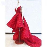 красные формальные платья оборки оптовых-Красные Высокие Низкие Кружевные Платья Выпускного Вечера Abiye Винтаж 3D Цветочные Вечерние Платья С Глубоким V-образным Вырезом Скромные Оборки Арабский Формальное Вечернее Платье