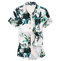 vestidos de estilo blusa venda por atacado-Camisa havaiana dress planta flores verde floral mens camisas de manga curta blusa men praia lazer estilo de moda verão