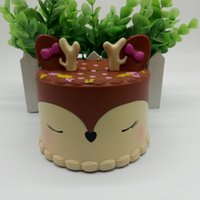 dollhouse çay seti toptan satış-Simülasyon geyik kek dükkanı pencere modeli dekorasyon PU yavaş ribaund Squishy oyuncak çocuk oyun evi oyuncak