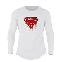 Wholesale clothes trading online - Foreign Trade Superman LOGO Fitness Sports Long Sleeve T shirt Men s Spring and Autumn Leisure Training Clothes Exercise Underwear