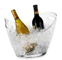 refrigeradores de balde de cerveja venda por atacado-Balde de gelo acrílico plástico da barra, refrigeradores do gelo da cerveja do vinho tinto, refrigeradores transparentes do gelo do lingote