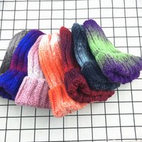 kore örme şapkalar toptan satış-Elastik Gökkuşağı Degrade Örgü Şapka Moda Sıcak Kulak Muffs Kore Bere Kap Moda Kadınlar Açık Seyahat Kayak Kap TTA1683
