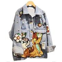 tierfrauen typ großhandel-Frauen Herbst Jeansjacke Mädchen Pailletten Stickerei Jeans Jacke mit Tier Typ Mantel Blau Oversize Jacken Top für Studenten