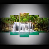 gemälde waldölfarben großhandel-5 Stück Große Größe Leinwand Wandkunst Wald Wasserfälle Ölgemälde Wandkunst Bilder für Wohnzimmer Gemälde Wanddekor