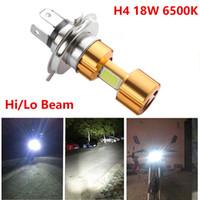 12v helle led-scheinwerfer großhandel-H4 18W LED 3 COB DC 12V Weiße Motorrad-Scheinwerferlampe 2000LM 6500K Hi / Lo-Strahl-Hochleistungs-Superhelle helle Lampe
