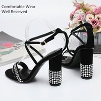 Wholesale sexy comfortable black heels resale online - Special Sales Euramerican New Fashion Sexy woman s Chunky High heel Sandals Summer Diamond lace up Comfortable sandals Genuine leather