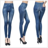 nachgemachte denim-leggings großhandel-Europa und die Vereinigten Staaten Explosion Modelle nahtlose hochelastische Imitation Denim Print Leggings Frauen tragen Fleece-Taschen neun Hosen