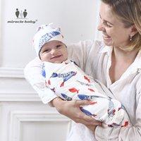 ingrosso cappelli biologici del bambino-New Cotton Swaddle neonato Cappelli per neonati Swaddle Set (coperta con cappuccio) per 0-6 mesi Baby Photography Puntelli