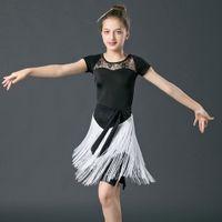 ingrosso abito bambino salsa-Sexy Latin Dance Dress For Girls Bambini Bambini Concorso Latino Gonna Salsa Samba Dance Latin Salsa Dresses