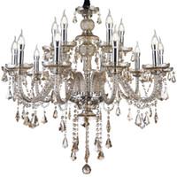 Wholesale up light fixtures resale online - LED E12 Brightness Cognac Colour Crystal Candle Chandelier Ceiling Lights Fixture Lamp Chandelier Pendant Lights Lighting with E12 bulb