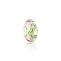 сливовое стекло оптовых-Цветение сливы розовый цветочные бусины из муранского стекла S925 серебряный сердечник подвески Fit пандора браслеты ожерелье DIY женские ювелирные аксессуары PDZ115
