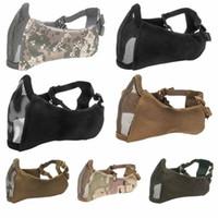 металлические напольные маски оптовых-Tactical Ear protection half-face mesh mask Hunting Protective Guard Mask Cover Half Face Metal Steel Net Mesh
