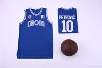 equipe de equipamentos de basquetebol venda venda por atacado-Homens Faculdade 10 Drazen Petrovic Jersey Basquete Universidade Cibona Zagreb Jerseys Equipe Azul Respirável Para Os Fãs de Esporte de Alta Qualidade Em Venda