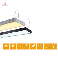 12v led de iluminación comercial al por mayor-Moderno Luces colgantes LED Ahorro de energía Tubo largo Luces de oficina Proyecto comercial comercial Fitness Conferencia Iluminación Accesorio Envío gratis