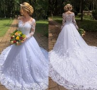 Wholesale plus size beach wedding dresses for sale - Modern Long Sleeve Lace Wedding Dresses Summer Bohemian A Line Bridal Gowns Appliques Off Shoulder Robe de mariee With Court Train