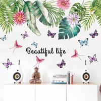 цветы стены комнаты оптовых-60 * 90 см * 2 наклейки на стены украшения цветок зеленый лист пвх водонепроницаемый домашний декор наклейки на стену для детской комнаты художественные картины декоративные обои