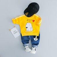 ingrosso vestiti dell'orso del bambino-2019 Primavera e autunno Bambini Vestiti Tute 2 Pz / set Camicia + Pantaloni Baby Girl Boy Set di abbigliamento Orso polare modello Infant Casual