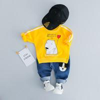 patrón de camisa infantil al por mayor-2019 Primavera y otoño Ropa para niños Trajes 2 Unids / set Camisa + Pantalones Baby Girl Boy Ropa Conjuntos Oso Polar Patrón Infantil Casual