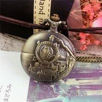 bronz cep saatleri toptan satış-Vintage Tam Kutu Bronz Tren Kuvars Pocket saat Kolye Erkekler Kadınlar Kolye Hediye Noel Toptan için Saatler