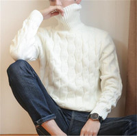 New Winter Pullover Men Sweater Coat Knitted Turtleneck Men Sweater Man Solid High Collar Mens Turtleneck Sweaters