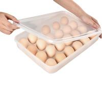 yumurta konteyneri toptan satış-Plastik Yumurta Karton 24 Izgara Yumurta Tutucu Toz Geçirmez Gıda Saklama Kutuları Mutfak Depolama Organizasyon Konteyner Mutfak Aletleri