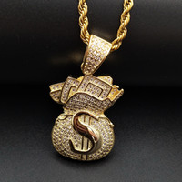 Wholesale coin jewelry resale online - Gold Plated Iced Out CZ Cubic Zirconia Mens USD Money Bag Pendant Chain Necklace Designer Luxury Full Diamond Hip Hop Jewelry Gifts for Men
