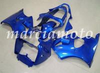 ingrosso kawasaki ninja zx6r adesivi-Nuovo (stampaggio ad iniezione) ABS carenatura kit di misura per la Kawasaki Ninja ZX-6R 2000 2001 2002 ZX-6R 00 01 02 carenature set Blu Bianco Stickers