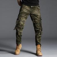 calças de swat preto venda por atacado-Camo tático Carga Calças Homens SWAT Calças Militares Do Exército Combate Paintball Masculino Casual Muitos Bolsos Trabalham Calças Cargas Pretas w30