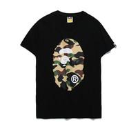 mann frau kleidung cartoon großhandel-2018 Frauen Kleidung Ape T-shirts Off Camouflage Cartoon Print T-shirt Weiß Männer Frauen Beiläufige Lose Ein Baden Aape Ape Kurzarm T-shirts