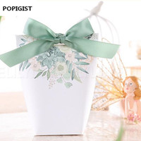 Wholesale bomboniere wedding favors resale online - New White Green flowers Wedding Favors Candy Boxes Bomboniere Save the date Gift Box Party Chocolate Box three designs