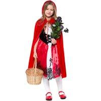 vestidos vermelho carmesim venda por atacado-Nova menina das crianças Chapeuzinho Vermelho Cosplay vestido de princesa das crianças roupas dia traje show de palco