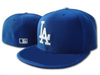 Wholesale hat logo design resale online - Good Design LA Royal Blue fitted hat flat Brim embroiered logo fans baseball Hats size LA on field full closed
