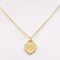 titan 14k gold halskette großhandel-Neue mode t edelstahl liebe halskette kurze weibliche schmuck 18 karat vergoldet titanium einzigen anhänger halsketten für frauen