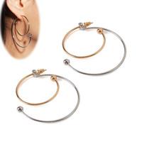 Wholesale double layer earrings for sale - Group buy QCOOLJLY Simple Hoop Earrings For Women Ladies Double Layers Circle Ear Hoops New Arrival Temperament Hip Hop Earrings Oorbellen