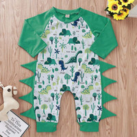 Wholesale dinosaur baby clothing print resale online - Baby Dinosaur Jumpsuits Cartoon Letter Printed Long Sleeve Jumpsuits Kids Designer Clothes Boy Baby Boy Rompers M