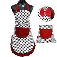 bolsillos delantales al por mayor-Nuevo lindo delantal babero vestido Vintage cocina mujeres Bowknot con bolsillo regalo lindo punto mujeres delantales