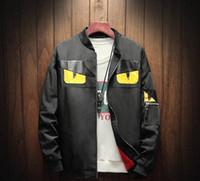 Wholesale quality eye patches resale online - 2019 European yellow eye pattern designer fashion zipper jacket casual jacket men s jacket high quality fabric