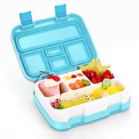 bento japonês venda por atacado-Japonês Lancheira Portátil Para Crianças Escola Dividir Placa Bento Box Cozinha Louça À Prova de Vazamento de Alimentos Recipiente de Comida Caixa de Comida