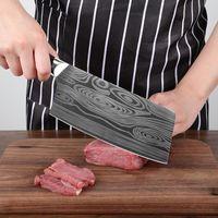 Wholesale meat slicing resale online - Kitchen Stainless Steel Damascus Knife Sharp Knife Laser Chef Knife Wooden Handle Fruit Vegetable Meat Slicing Knives Kitchen Tool BC BH1476