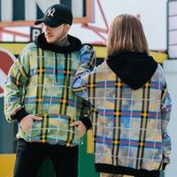 mavi sarı hoodie toptan satış-Hip Hop Hoodie Kazak Erkekler Streetwear Sarı Mavi Ekose Hoodie Kazak Pamuk Sonbahar Harajuku Damalı Giyim Retro
