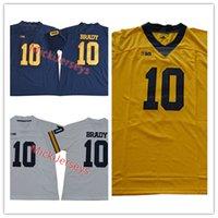 jersey de fútbol de élite blanco al por mayor-Mens NCAA # 10 Tom Brady Michigan Wolverines College Fútbol Jersey cosido Azul marino Blanco Rojo Elite # 10 Tom Brady Jersey S-3XL