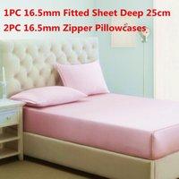 Wholesale deep queen sheet set online - 100 Mulberry Silk Bedding Sets Silk Fitted Sheet Deep cm Zipper Pillowcase Stain Silk Sheet Sets Multi Size High Quality