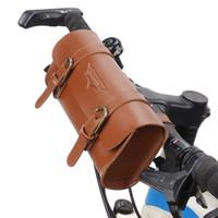 Wholesale saddle handlebars online - Mountain bike retro bicycle bag handlebar saddle riding Bag Straight car accessories
